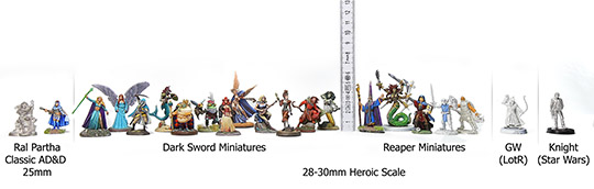Size comparison Ral Partha, Dark Sword, Reaper, GW