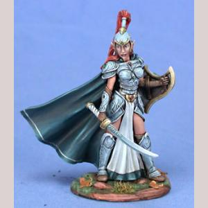 Female High Elf Warrior with Sword and Shield