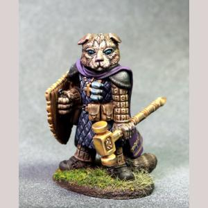 Scottish Fold Cat Cleric with Warhammer